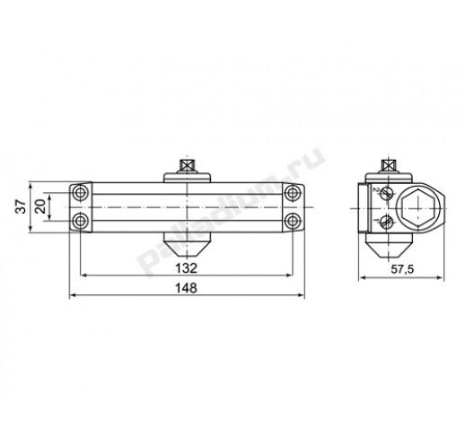 Доводчик PALLADIUM 1045 ST (25-45) б/фикс. белый 00009315
