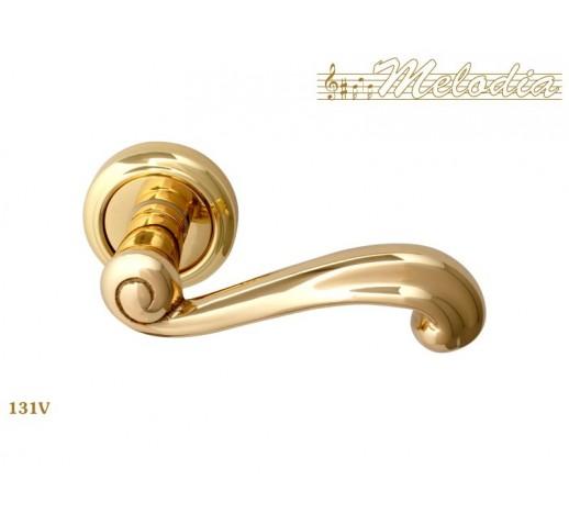 MELODIA Ручка на розетке RICCIO 131V 50мм полир/латунь PB
