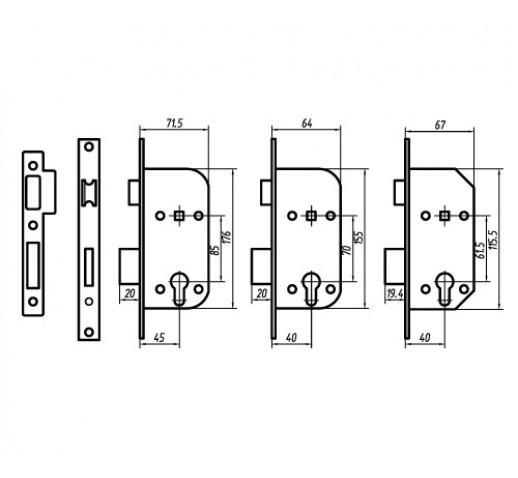 PALLADIUM Замок врезной ЗВ AL 1858 CP 00011302