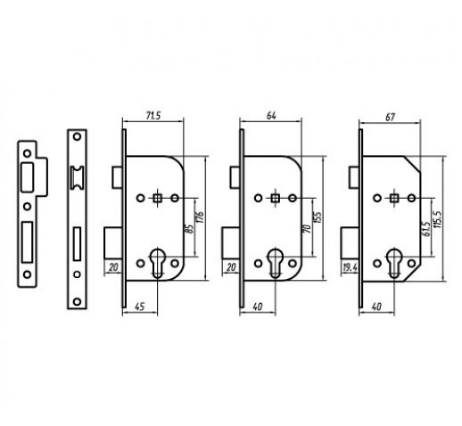 PALLADIUM Замок врезной ЗВ AL 1853 AB (12) 00011320