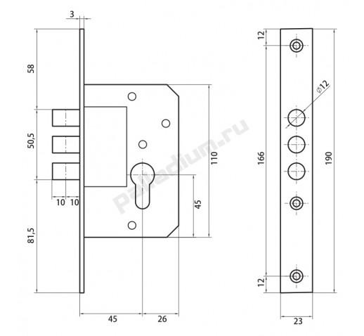 PALLADIUM Корпус замка 0189-3M латунь 00011169