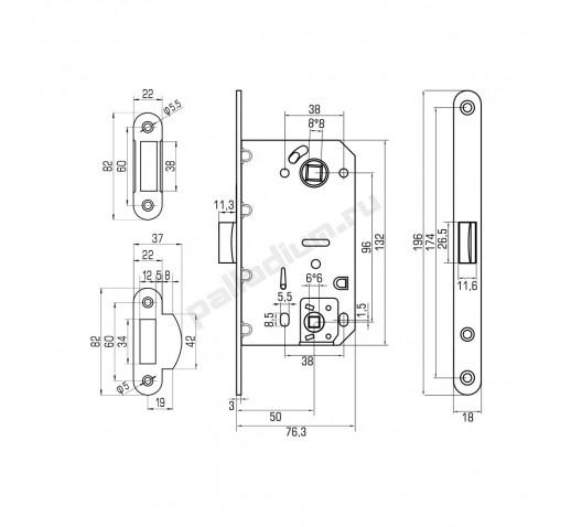 PALLADIUM Защелка межкомнатная 600 wc hole PC 00011893
