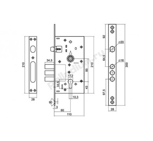 PALLADIUM Корпус замка 0252R никель 00011171