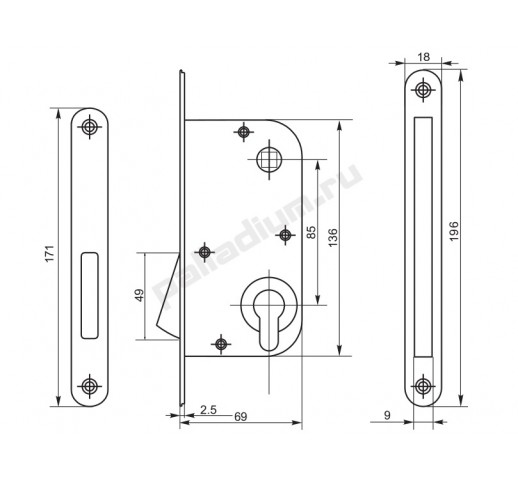 Корпус замка магнитный 085М CP хром PALLADIUM