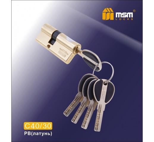 Цилиндровый механизм C 40/30мм к/к 5кл. перф.PB золото