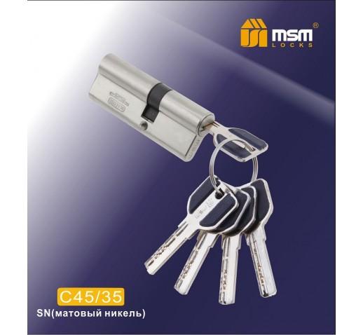 Цилиндровый механизм C 45/35 мм к/к 5 кл. перф. SN мат. хром