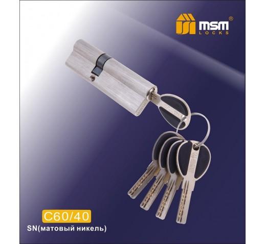 Цилиндровый механизм C 60/40мм SN мат. хром MSM