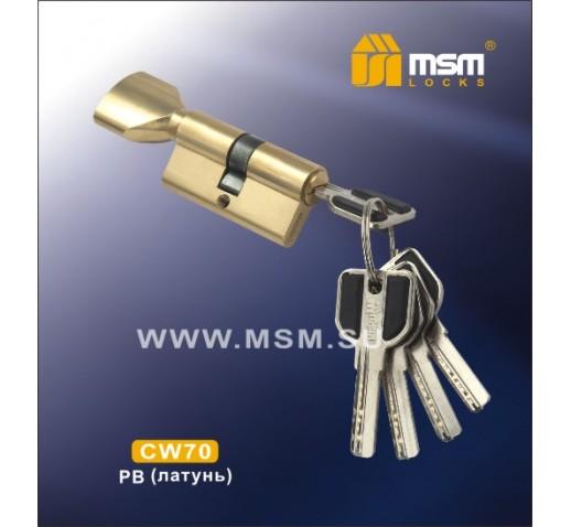 Цилиндровый механизм CW 70мм к\б 5кл. перф. PB золото
