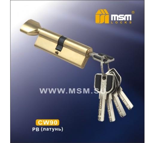 Цилиндровый механизм CW 90мм к\б 5кл. перф. PB зол.