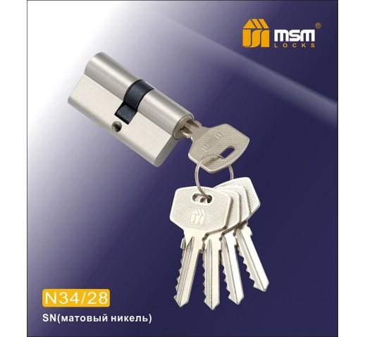Цилиндровый механизм N 40/30мм к/к 5 кл. SN мат. хром