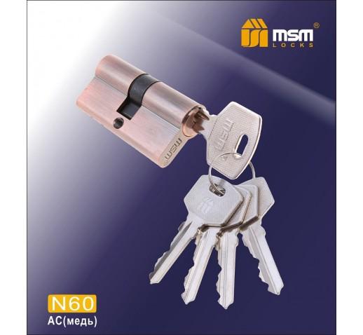 DOMAX Цилиндровый механизм N 60мм к/к 5кл. AC медь