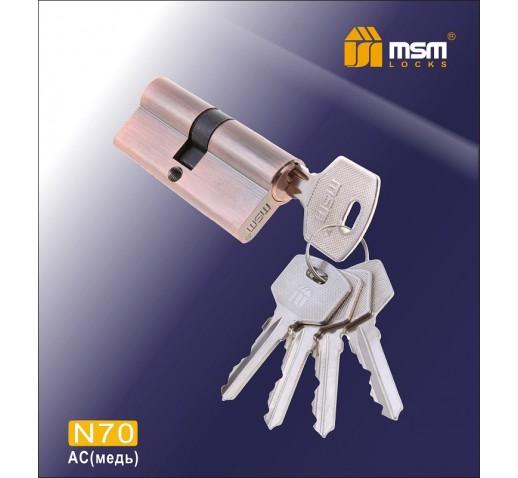 DOMAX Цилиндровый механизм N 70мм к/к 5кл. AC медь