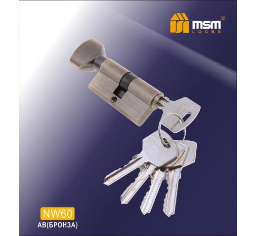 Цилиндровый механизм NW 60мм к/верт. 5 кл. AB бронз