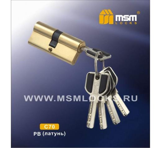 Цилиндровый механизм C111 70мм к\к 5кл перф. PB золото